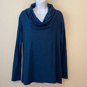 Eileen Fisher Blue Cowl Neck Merino Wool Sweater